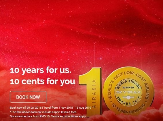 AirAsia 10 Years 10 Cents Promotion 2018