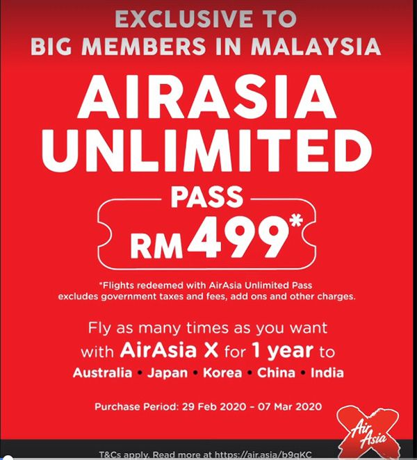airasia unlimited pass RM499
